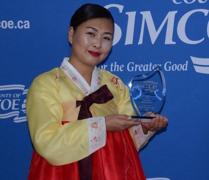 Orillia entrepreneur Yoon Joo Hong-McParland won the Immigrant Entrepreneur at this week's Newcomer Awards. County of Simcoe Photo