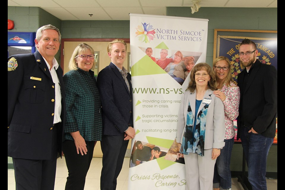 Senator Gwen Boniface was guest of honour at the North Simcoe Victim Services (NSVS) AGM and 20th Anniversary kick-off event, held yesterday at Bayside Restaurant in Orillia. Senator Boniface was OPP Commissioner during the formation of NSVS in 1999. She is shown here with members of the current NSVS Board of Directors. From left: Dave Baker, Gwen Boniface, Kyle MacCallum, executive director Frances Yarbrough, Heather Harmer, and Joshua Barath.