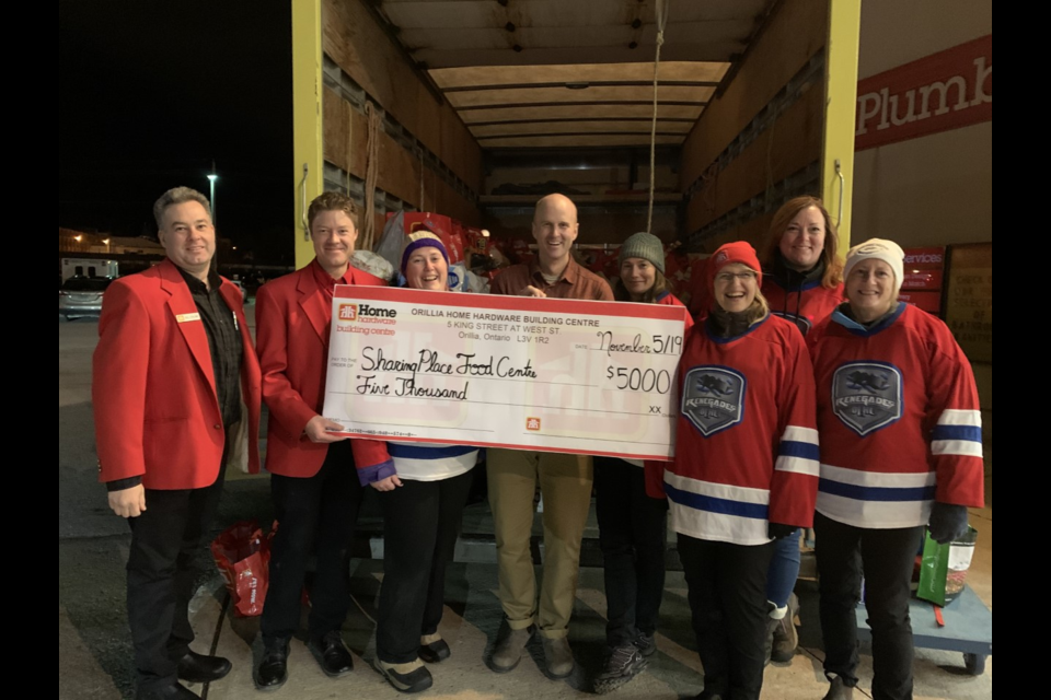 Home Hardware donated $5,000 to The Sharing Place Food Centre recently. Supplied photo