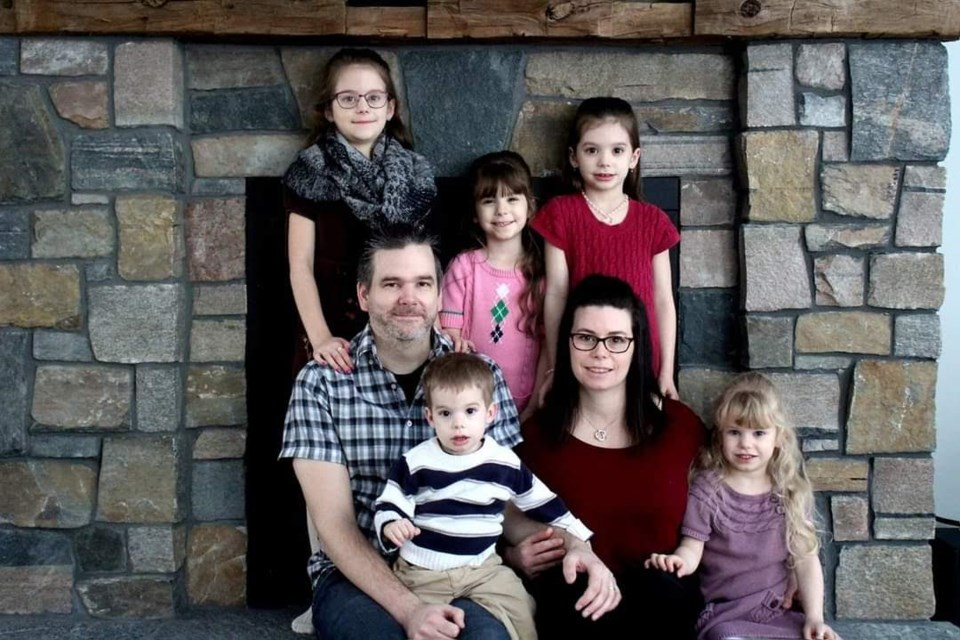 The Wadsworth family is in need of community support this holiday season, as the father of five, Dan Wadsworth, is battling cancer. In the back, from left: DeeAnna, Olivia and Alycia Wadsworth. In the front: Dan, William, Annie and Marissa Wadsworth.