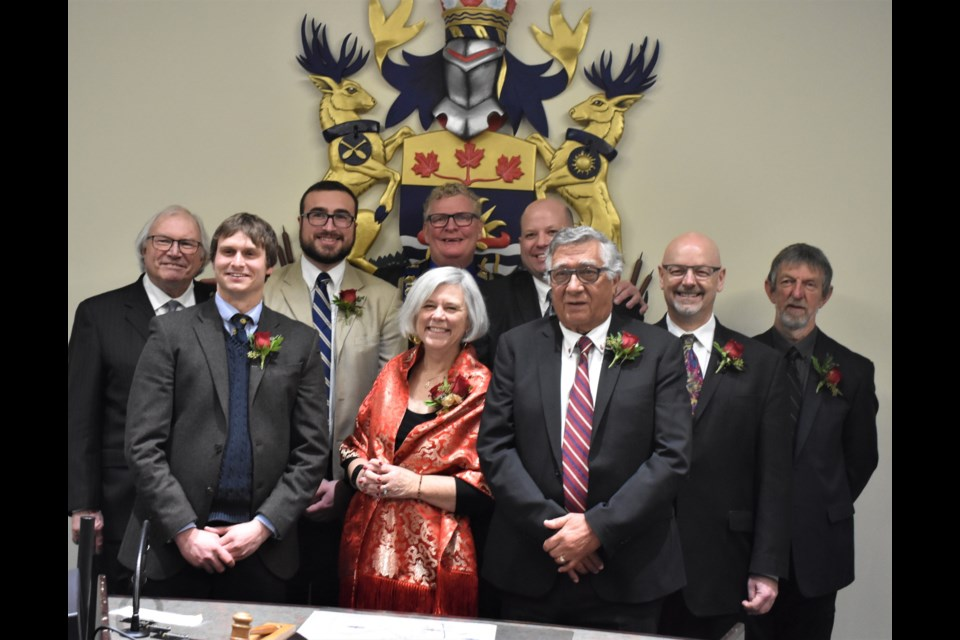 Orillia's city council for 2018-2022 was officially inaugurated Monday night. In the back row, from left: Ted Emond, Mason Ainsworth, Mayor Steve Clarke, Rob Kloostra, David Campbell and Tim Lauer. In the front row: Jay Fallis, Pat Hehn and Ralph Cipolla. Dave Dawson/OrilliaMatters