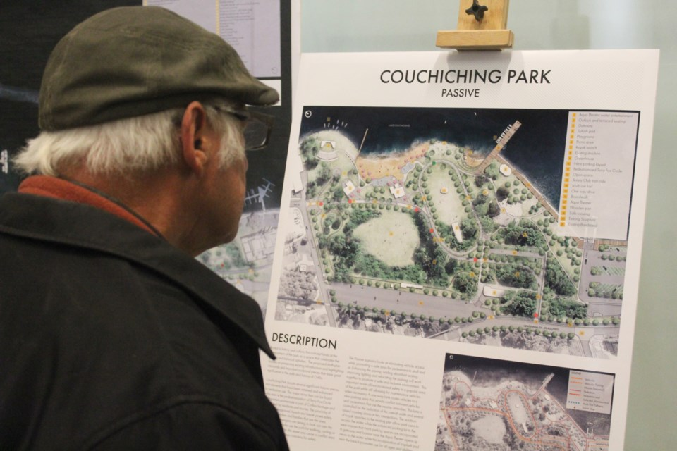 A man reviews one of the concepts for the city's waterfront redevelopment during an open house Tuesday at the Orillia Public Library. Nathan Taylor/OrilliaMatters