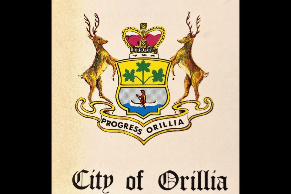 An earlier version of Orillia's coat of arms.