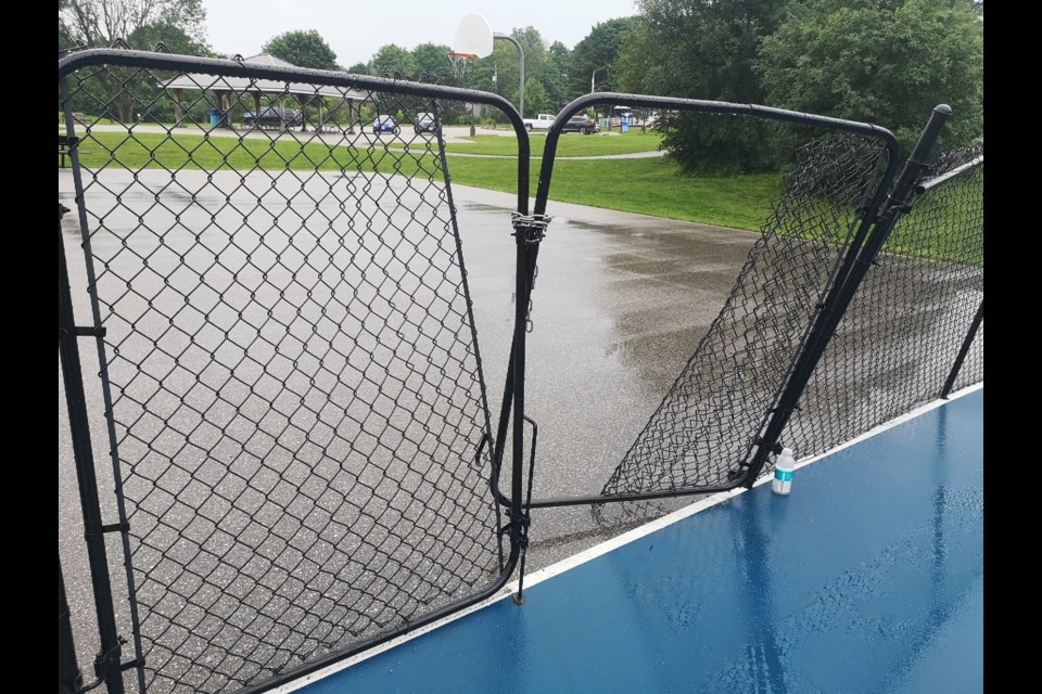The gates and fencing around the pickleball courts at Homewood Park were vandalized earlier this week.