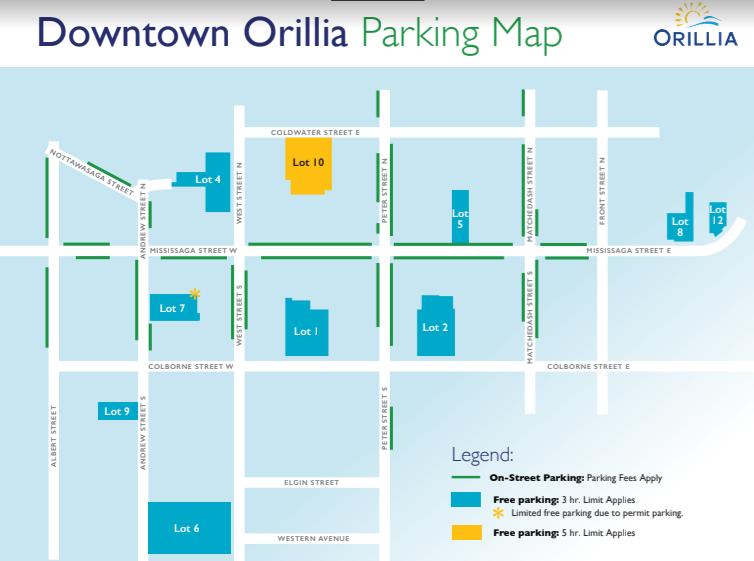 downtown orillia free parking map