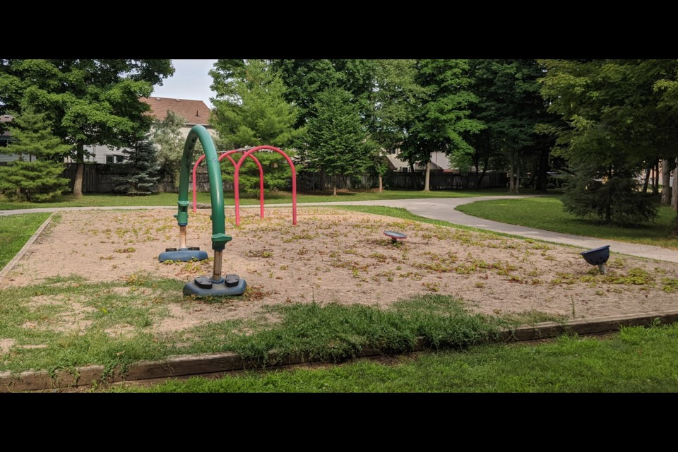 If the city can't find a way to find about $150,000 more each year, smaller playgrounds like this one at Grenville Park might have to be removed. Dave Dawson/OrilliaMatters