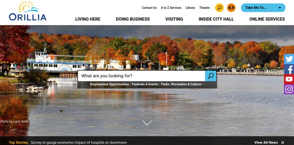 screen grab of orillia website