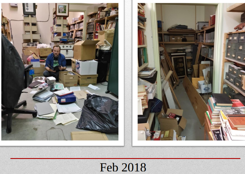 Tom Rose, the collections and program supervisor, showed some before and after photos of the collection of materials at the Leacock Museum. This is the 'Before' photo. City of Orillia photo