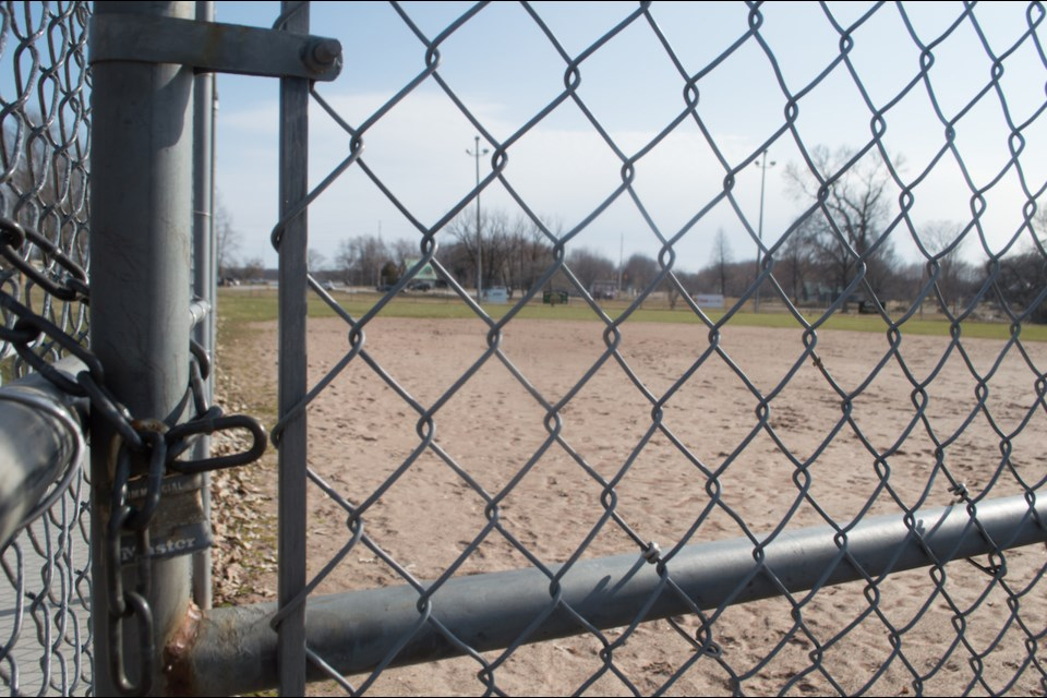 A locked gate kept players off Orillia baseball diamonds during the COVID-19 pandemic last year.