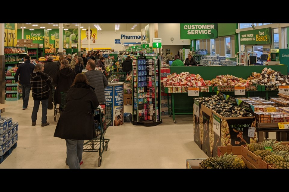 The lineups were long today at Food Basics in Orillia as local shoppers jammed the aisles amid concerns about food shortages in the wake of the COVID-19 pandemic. Dave Dawson/OrilliaMatters