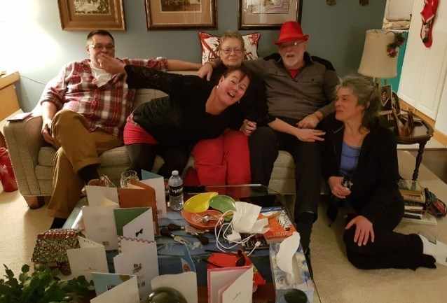 From Left: Michael Fox, Lisa Thompson, Elizabeth Fox, Lyle Fox and Jennifer Lynn Thorne are shown at Lyle's 80th birthday two years ago. Liz and Lyle died two days apart due to the coronavirus.