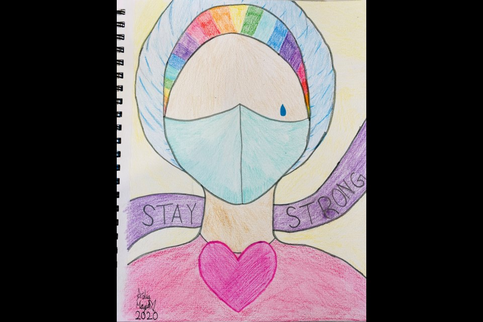 """This drawing was gifted to the hospital by a former patient. """"Hope you all are staying safe and healthy! The kids have been making some crafts to share with our first-responder families and friends. My granddaughter made this for the hospital staff. Hope it brings a smile to their faces! Stay safe and stay strong!"""" Contributed photo"""