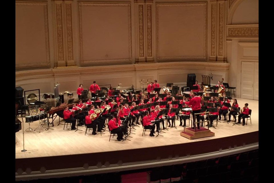 Patrick Fogarty Catholic Secondary School's senior concert band performed at Carnegie Hall on Monday. Supplied photo