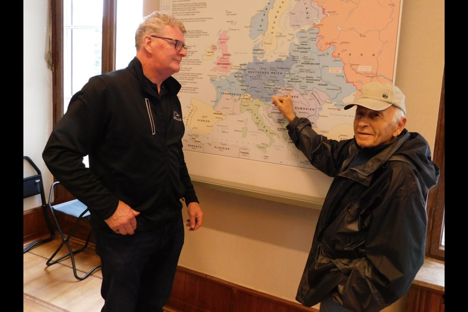 Orillia Mayor Steve Clarke is shown with Max Eisen, a survivor of Auschwitz, when the mayor travelled to Europe as part of Compassion to Action in 2019. Eisen made a virtual presentation to city council Monday night. File photo