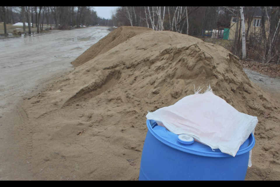 Anticipating flooding, Severn Township has provided sand and bags for residents at various locations, including Washago Centennial Park, pictured. Nathan Taylor/OrilliaMatters