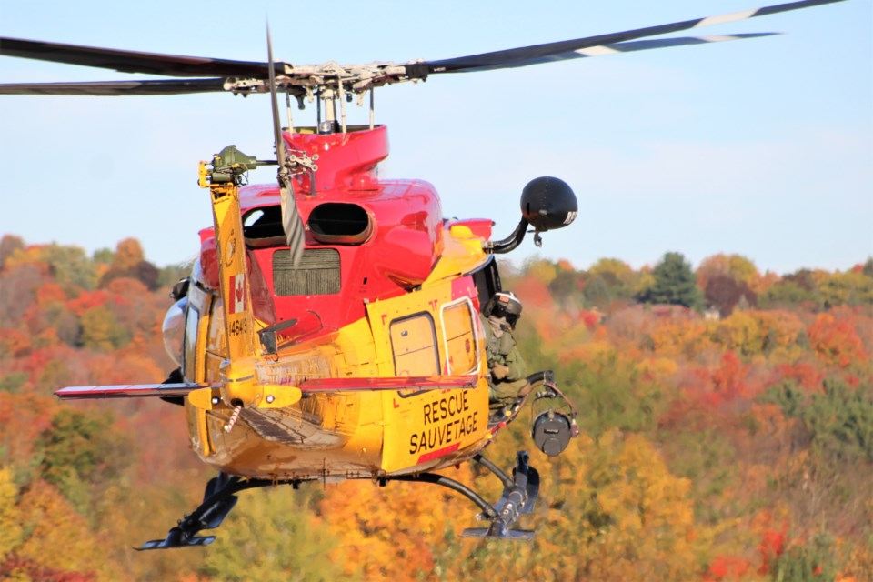 A Griffon helicopter from the Joint Rescue Coordination Centre lands Wednesday at OPP General Headquarters. Nathan Taylor/OrilliaMatters