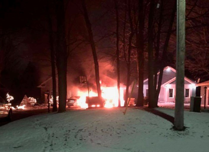 This photo shows the fire that broke out Tuesday night on Broadview Avenue. Will Dunlop/Supplied photo