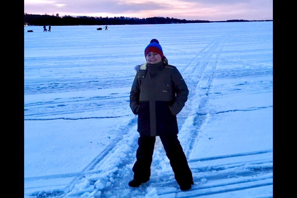 Max Gutowsky fell through the ice of Lake Couchiching Sunday and was able to scramble to safety and elude a tragedy.