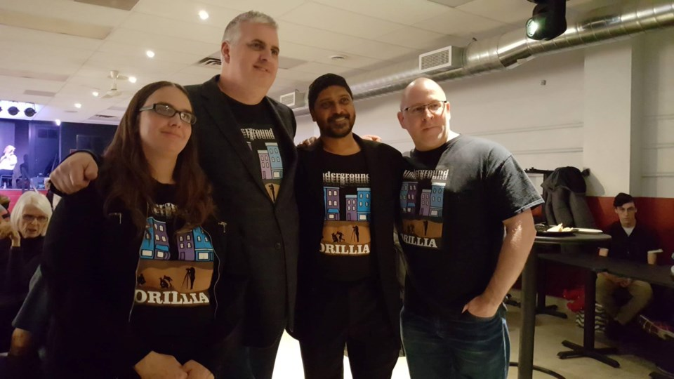From left to right, Olivia Duck, Aaron Sheedy, Xavier Fernandes and Shane Morrison, producers of Underground Orillia