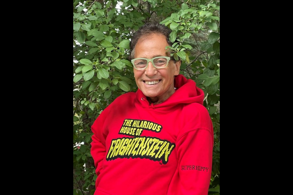 Mitch Markowitz, who played Super Hippy on The Hilarious House of Frightenstein, is pictured wearing Kutting Edge produced apparel that celebrates the 50th anniversary of the hit show.