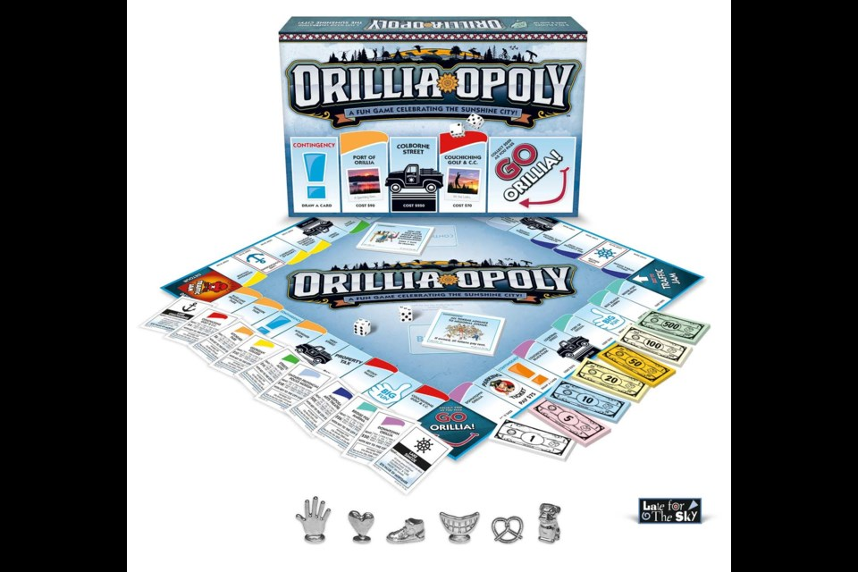 The Orillia-Opoly board game features many unique Orillia businesses and landmarks. The board game is expected to hit Walmart shelves this week.
