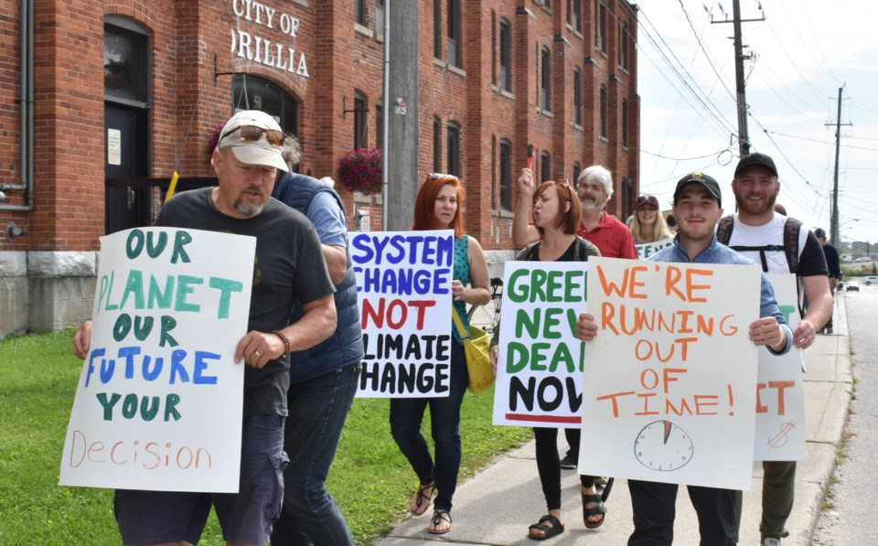 climate protest orillia sept 20 marching