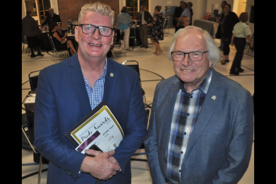Orillia Mayor Steve Clarke, left, and Coun. Ted Emond were honoured that the city's been recognized for its work to create a more inclusive community. Andrew Philips/OrilliaMatters