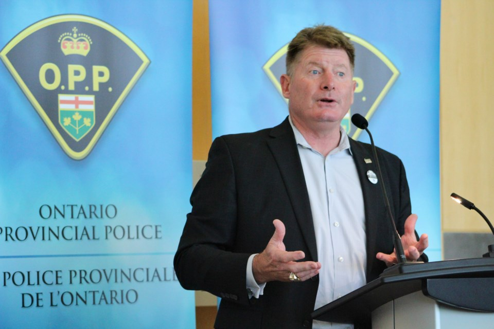 Glenn Healy, executive director and president of the NHL Alumni Association, speaks Tuesday, July 9, 2019, at OPP General Headquarters in Orillia. Nathan Taylor/OrilliaMatters