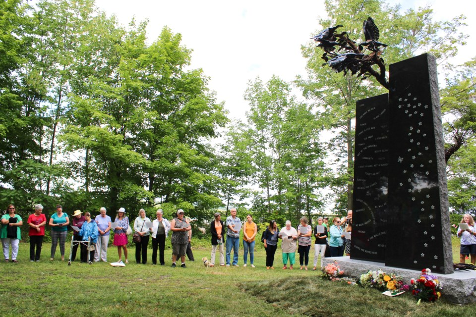 Attendees take part in a sing-along when the Survivors Memorial Monument was unveiled at the HRC Cemetery in August of 2019. The city has agreed to provide one-time funding of $25,000 to help improve accessibility at the site. Nathan Taylor/OrilliaMatters File Photo