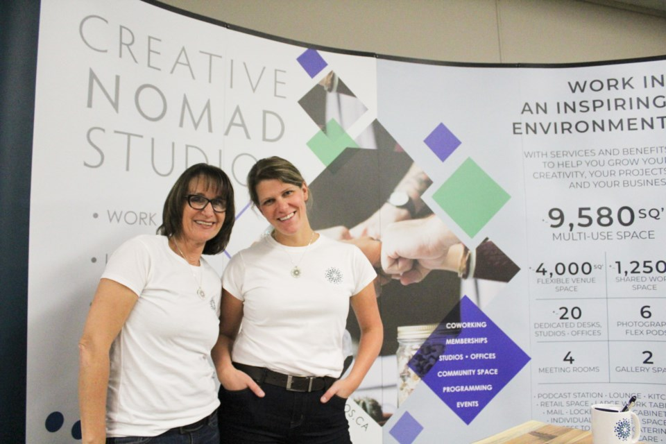 Anitta Hamming, left, and Steph Whalen were at the Orillia and Lake Country Business Expo on Tuesday at ODAS Park to tell people all about Creative Nomad Studios. Nathan Taylor/OrilliaMatters