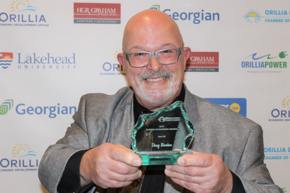 Doug Bunker won the Hats Off award Wednesday during the Orillia District Chamber of Commerce Business Achievement Awards at the Hawk Ridge Golf and Country Club. Nathan Taylor/OrilliaMatters