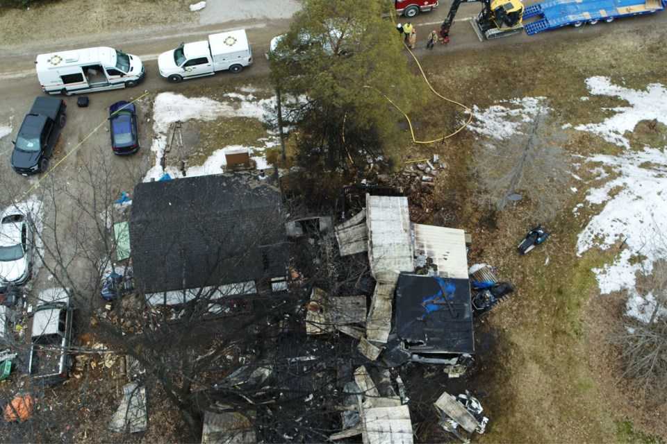 Two people were killed in an early-morning fire near Sebright Wednesday. Ontario Fire Marshal photo