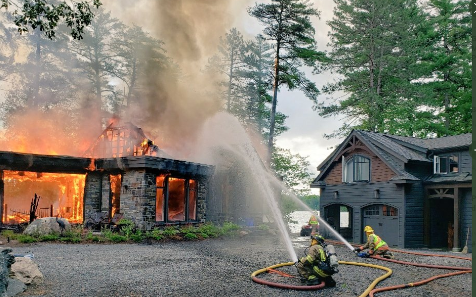 A fire destroyed a cottage that was under construction on DM 169 in west Gravenhurst Monday. The fire caused $2.5-million in damages. Contributed photo