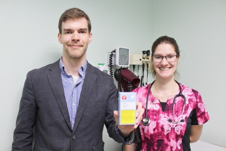Avail Cannabis Clinics CEO Justin Whitehall is pictured with Joscelyn Palmer, a registered practical nurse who works at the newly opened walk-in clinic at City Med Pharmacy in Orillia. Nathan Taylor/OrilliaMatters