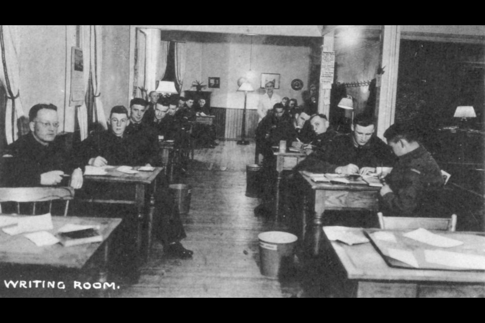 The Maple Leaf Club Writing Room at Hostess House within St. James' Church was a well-used facility by the men and women at Basic Training Camp No. 26.