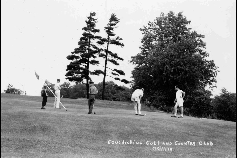 Golfers, some wearing shorts, illustrate what golfing was like in the 1940s in this postcard of the Couchiching Golf Course.