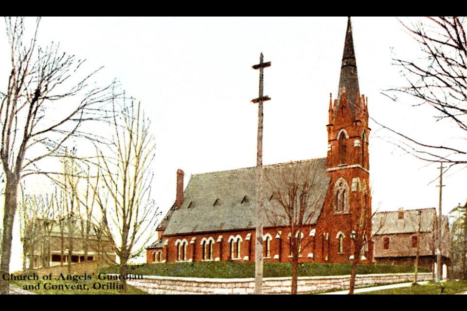 Shown on the right is the rectory built in 1874 and on Penetang Street, left of the church, is the convent, built in 1903, the home of the Sisters of Saint Joseph. This red brick church was demolished in 1910, to make way for a new and larger building.