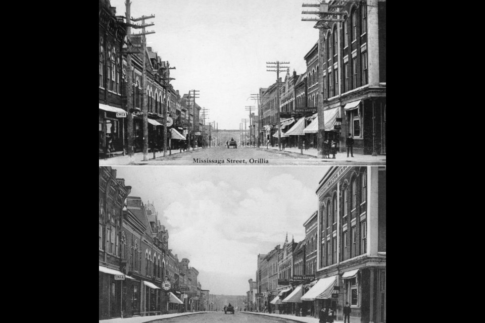 These two postcards from different publishers are an excellent example of the results of manipulation by the artist. We know the original photo is the one with the utility poles. However, in the bottom postcard, the poles have been removed to provide a more attractive, uncluttered image.
