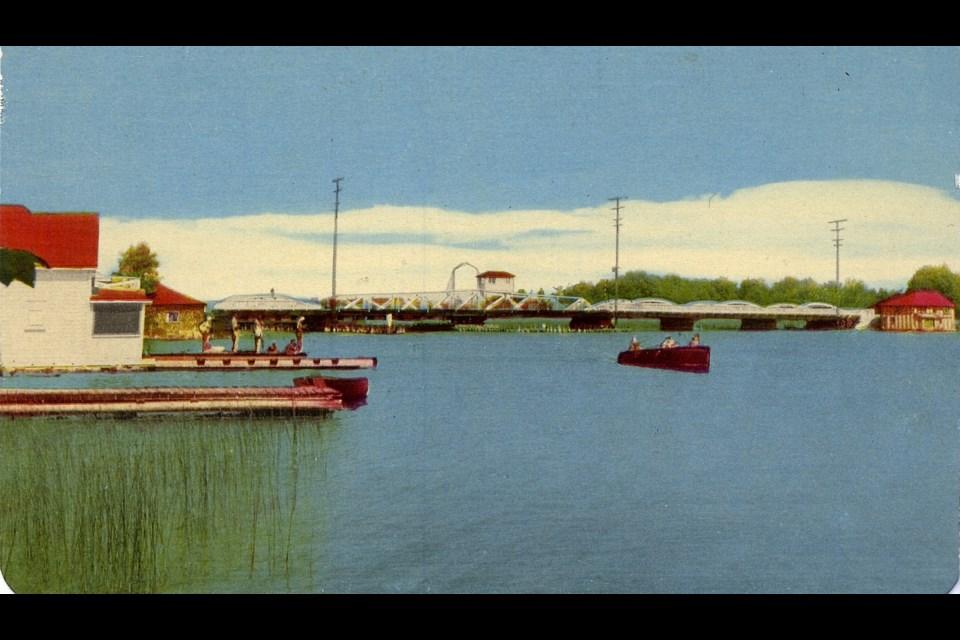 This postcard shows The Narrows at Atherley, circa 1950.