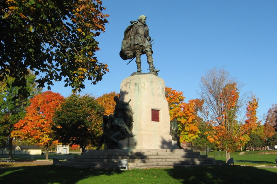 The Champlain Monument, before it was removed, is pictured. Jack Gourlie photo