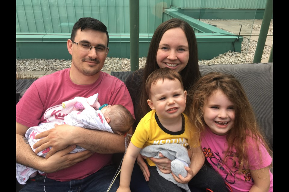 The Audia family of Orillia is pictured. Brian and Samantha Audia are shown with their infant daughter, Rosalie, who recently received a heart transplant, and children Waylon and Gia. Supplied photo