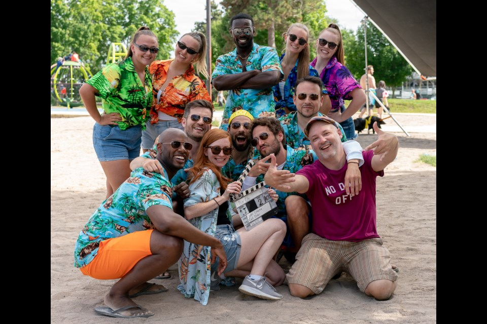 The cast of Boy City is shown with director Sean Cisterna, front right, and dancers from Tapp's Performing Arts in Orillia.