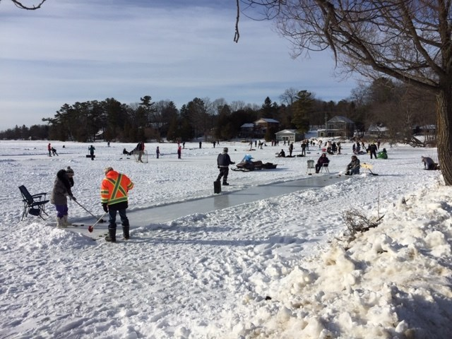 The pandemic has spawned renewed interest in outdoor activities, which was obvious on local lakes during the weekend. There are a number of rinks on Bass Lake this winter including this curlilng rink.