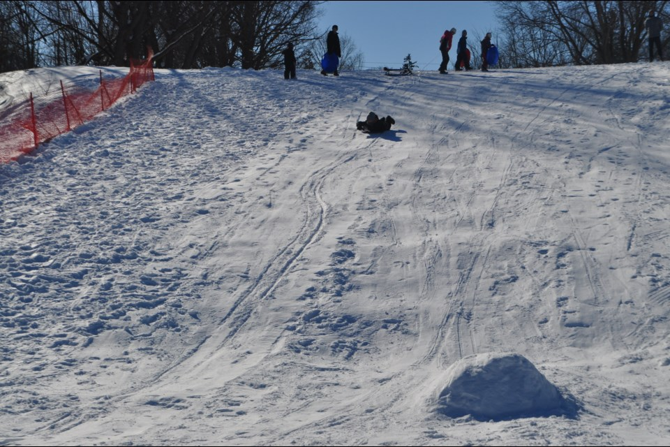 Lots of families flocked to the toboggan hill at the Couchiching Golf Course during Family Day in 2019. Andrew Philips/OrilliaMatters File Photo