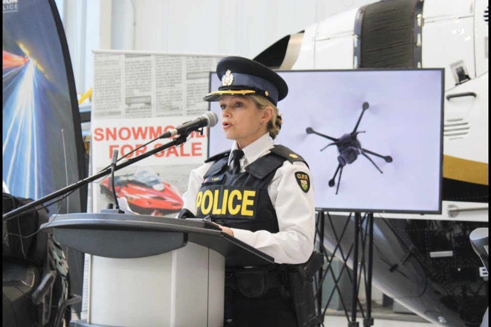 Insp. Tina Maier speaks Monday at OPP General Headquarters in Orillia during the launch of Snowmobile Safety Week. Nathan Taylor/OrilliaMatters