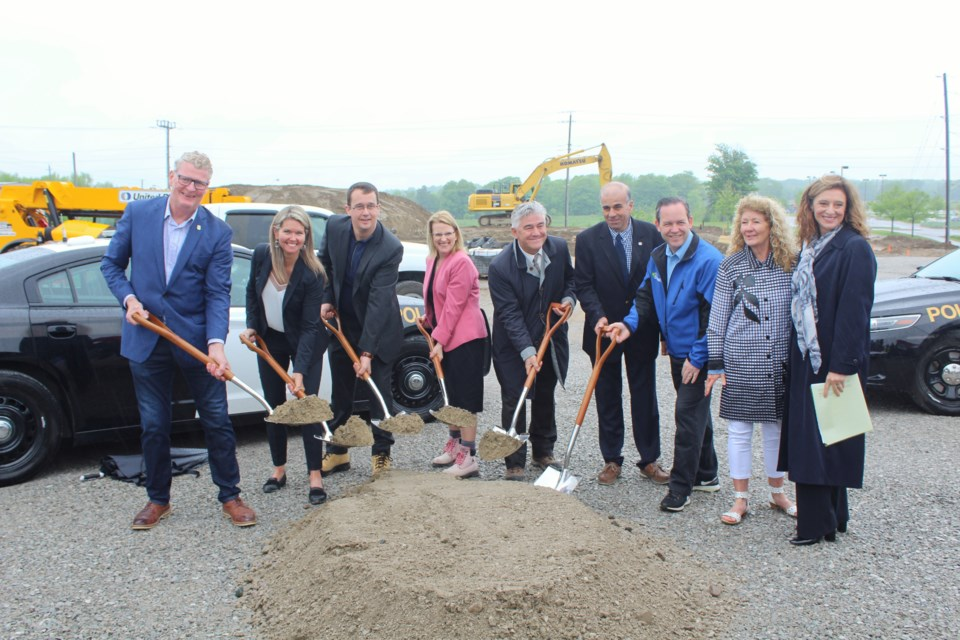 Officials broke ground on the new Orillia OPP detachment Monday at 1 University Ave. On hand were, from left, Orillia Mayor Steve Clarke, Simcoe North MPP Jill Dunlop, Infrastructure Minister Monte McNaughton, Solicitor General Sylvia Jones, Angelo Gismondi, senior vice-president of justice portfolios at Infrastructure Ontario, Severn Mayor Mike Burkett, Barrie-Springwater-Oro-Medonte MPP Doug Downey, Severn Coun. Jane Dunlop and OPP Provincial Cmdr. Mary Silverthorn. Nathan Taylor/OrilliaMatters