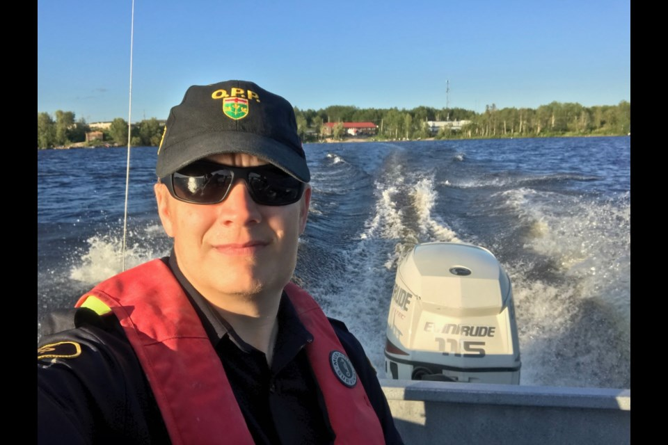 Orillia OPP Const. Martin Hill is shown at Pikangikum First Nation, where he recently spent time assisting the local police. Supplied photo