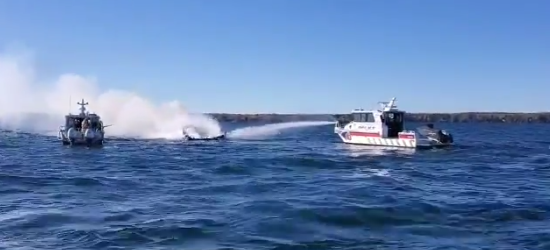 boat fire in lake simcoe oct 11 2020