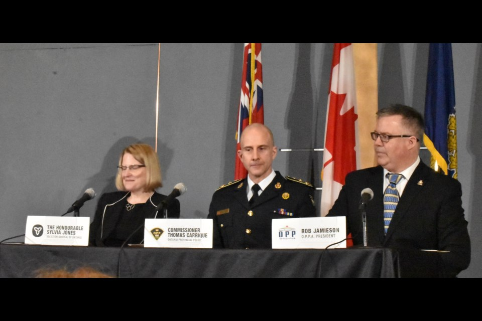 Ontario Solicitor General Sylvia Jones joined OPP Commissioner Thomas Carrique and OPPA President Rob Jamieson at a media conference Monday to announce findings from an independent review of the OPP's workplace culture. Dave Dawson/OrilliaMatters