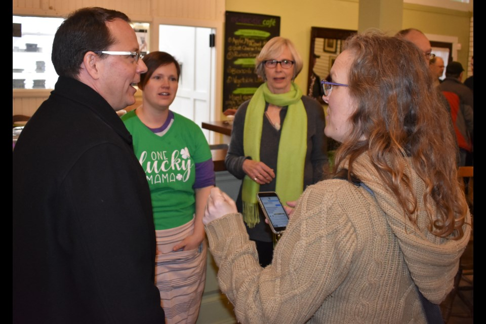 Provincial Green Party leader Mike Schreiner chats with Simcoe North supporters during a visit to the riding Friday morning. Dave Dawson/OrilliaMatters